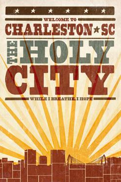Charleston, South Carolina - Skyline and Sunburst Screenprint Style by Lantern Press