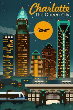 Charlotte, North Carolina - Retro Skyline by Lantern Press