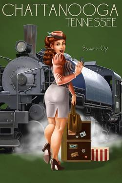 Chattanooga, Tennessee - Locomotive Pinup Girl by Lantern Press
