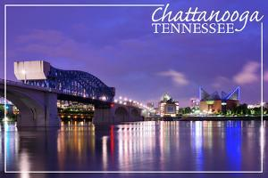 Chattanooga, Tennessee - Night by Lantern Press