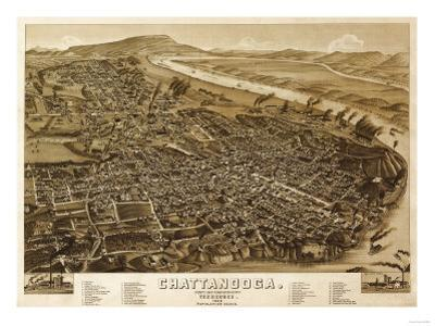 Chattanooga, Tennessee - Panoramic Map by Lantern Press