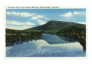 Chattanooga, Tennessee - View of Lookout Mountain from the Tennessee River by Lantern Press