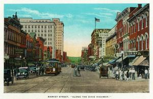 Chattanooga, Tennessee - View of Market Street, Along the Dixie Highway by Lantern Press