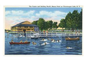 Chautauqua Lake, New York - Bemus Point, View of Casino and Beach by Lantern Press