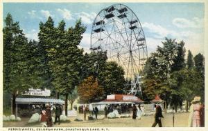 Chautauqua Lake, New York - Celoron Park; Ferris Wheel View by Lantern Press