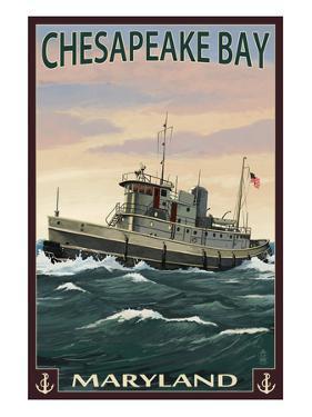 Chesapeake Bay Tugboat Scene by Lantern Press