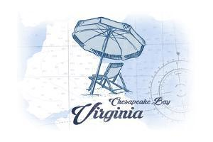 Chesapeake Bay, Virginia - Beach Chair and Umbrella - Blue - Coastal Icon by Lantern Press