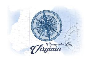 Chesapeake Bay, Virginia - Compass - Blue - Coastal Icon by Lantern Press