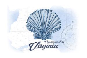 Chesapeake Bay, Virginia - Scallop Shell - Blue - Coastal Icon by Lantern Press
