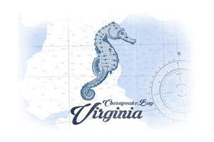 Chesapeake Bay, Virginia - Seahorse - Blue - Coastal Icon by Lantern Press