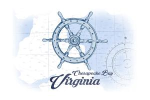 Chesapeake Bay, Virginia - Ship Wheel - Blue - Coastal Icon by Lantern Press