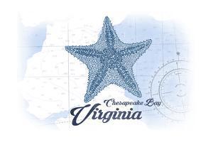 Chesapeake Bay, Virginia - Starfish - Blue - Coastal Icon by Lantern Press