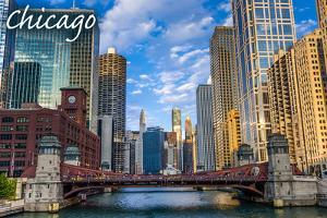 Chicago, Illinois - City and River by Lantern Press