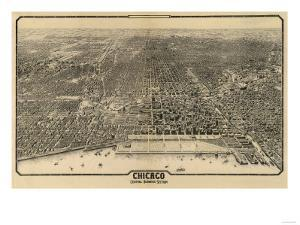 Chicago, Illinois - Panoramic Map No. 1 by Lantern Press