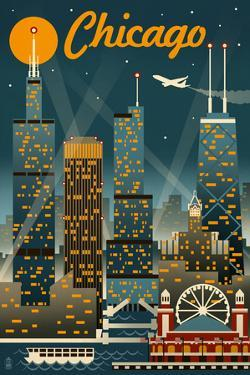 Chicago Illinois - Retro Skyline by Lantern Press