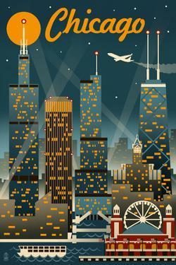 Chicago Illinois - Retro Skyline by Lantern Press