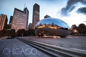 Chicago, Illinois - Skyline and Bean by Lantern Press