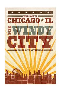 Chicago, Illinois - Skyline and Sunburst Screenprint Style by Lantern Press