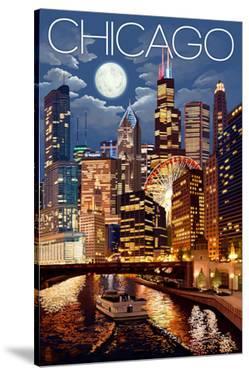 Chicago, Illinois - Skyline at Night by Lantern Press