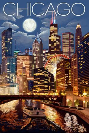 Chicago, Illinois - Skyline at Night by Lantern Press