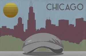 Chicago, Illinois - Skyline by Lantern Press