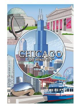 Chicago, Illinois - The Windy City Scenes by Lantern Press