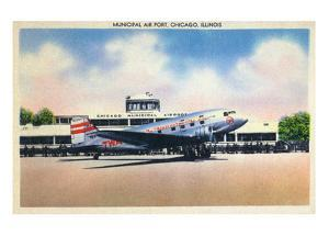 Chicago, Illinois - Transcontinental Airplane at Municipal Airport by Lantern Press
