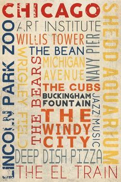 Chicago, Illinois - Typography by Lantern Press