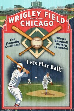 Chicago, Illinois - Wrigley Field Vintage Sign by Lantern Press