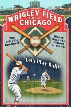 Chicago, Illinois - Wrigley Field Vintage Sign by Lantern Press