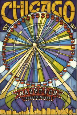 Chicago's Navy Pier and Ferris Wheel by Lantern Press