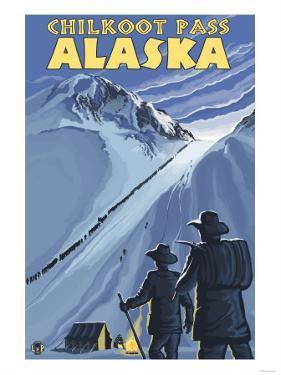 Chilkoot Pass, Alaska Gold Miners by Lantern Press
