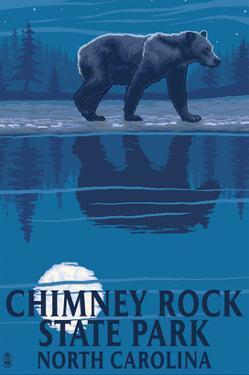 Chimney Rock State Park, NC - Bear at Night by Lantern Press