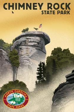 Chimney Rock State Park, North Carolina - Lithograph - 100th Anniversary by Lantern Press