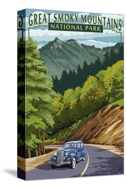 Chimney Tops and Road - Great Smoky Mountains National Park, TN by Lantern Press