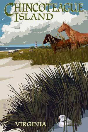 Chincoteague Island, Virginia - Horses and Dunes by Lantern Press