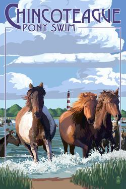 Chincoteague, Virgina - Pony Swim by Lantern Press