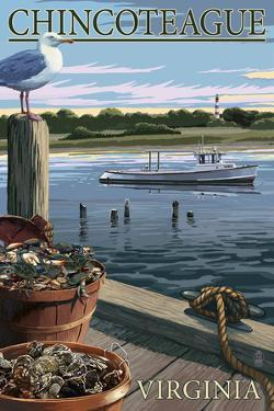 Chincoteague, Virginia - Blue Crab and Oysters on Dock by Lantern Press