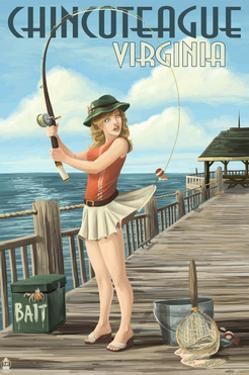 Chincoteague, Virginia - Pinup Girl Fishing by Lantern Press