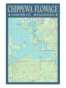 Chippewa Flowage Chart - Sawyer County, Wisconsin by Lantern Press