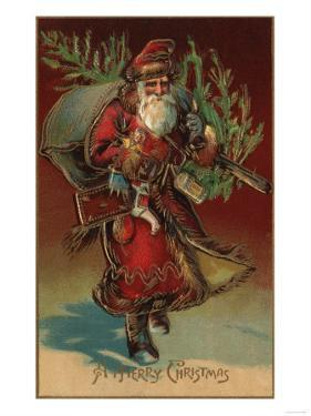 Christmas Greeting - Santa with Gifts No. 2 by Lantern Press
