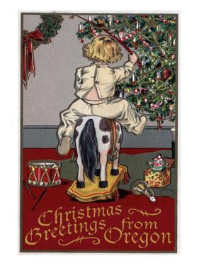 Christmas Greetings from Oregon - Girl on Horse by Lantern Press