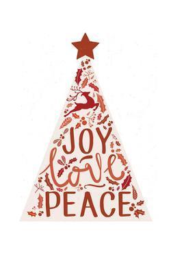 Christmas - Joy Love Peace - Tree by Lantern Press