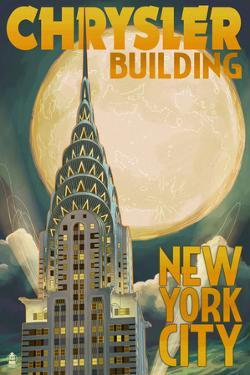 Chrysler Building and Full Moon - New York City, NY by Lantern Press