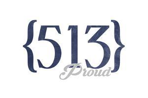 Cincinnati, Ohio - 513 Area Code (Blue) by Lantern Press