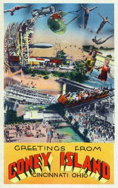 Cincinnati, Ohio - Coney Island Amusement Park Greetings by Lantern Press