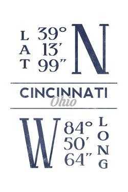 Cincinnati, Ohio - Latitude and Longitude (Blue) by Lantern Press