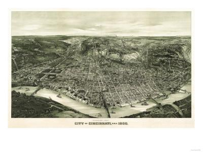 Cincinnati, Ohio - Panoramic Map by Lantern Press