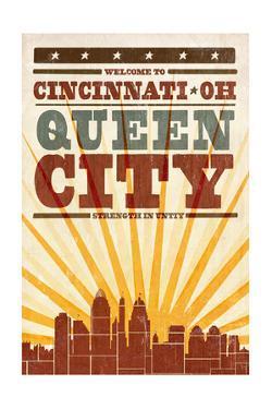 Cincinnati, Ohio - Skyline and Sunburst Screenprint Style by Lantern Press
