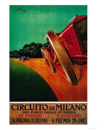 Circuito Di Milano Vintage Poster - Europe by Lantern Press